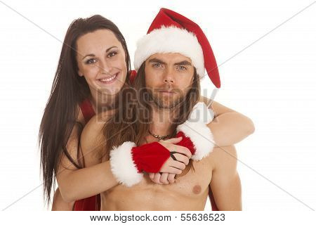 Santa Couple Her Behind Arms Around