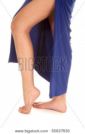 Woman Legs In Ablue Slit Dress