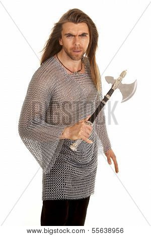Man Chain Mail Axe Hold Up