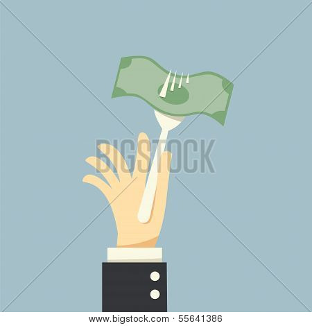 Hand Holding A Fork And Money