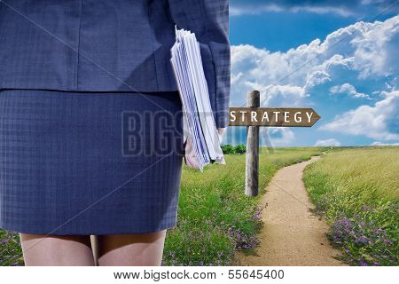 business woman and road