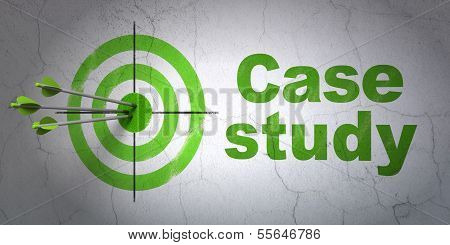 Education concept: target and Case Study on wall background