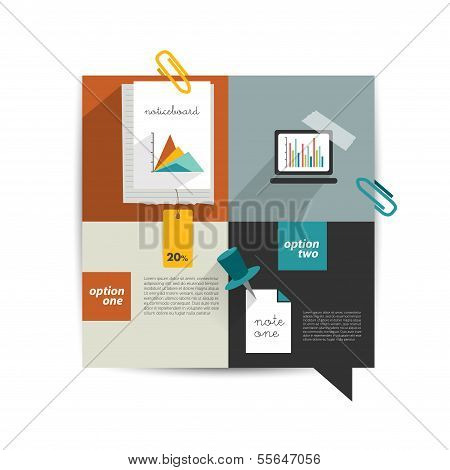 Set of infographic collection. Color web page or blog elements, folder, color paper stickers, cardbo