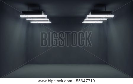 Empty dark room with lightrays
