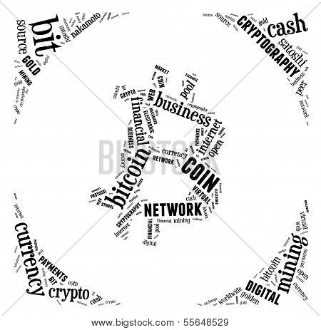 Bitcoin Logo Word Cloud With Black Wordings