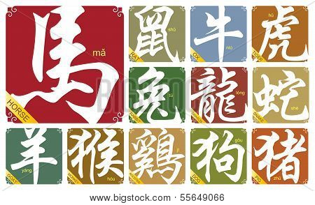 Chinese zodiac signs with the year of horse