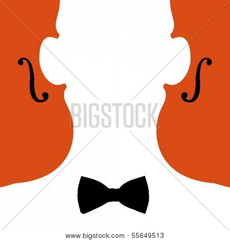 Minimal illustration of violinist and violins in negative space style