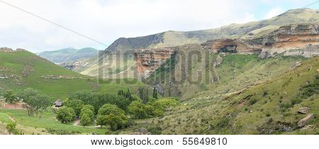 The Sentinel And Glen Reenen Camp Site In The Golden Gate Highlands National Park