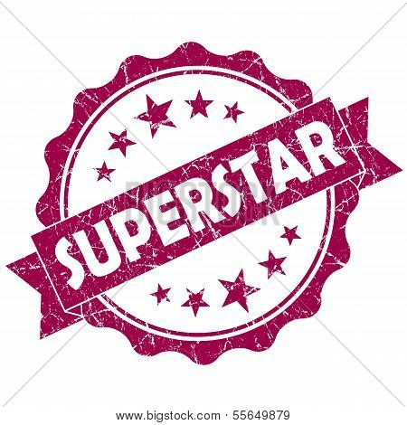 Superstar Pink Vintage Round Grunge Seal Isolated On White Background