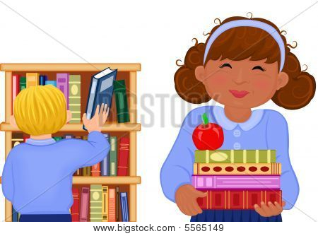 Multiracial Children At School Library