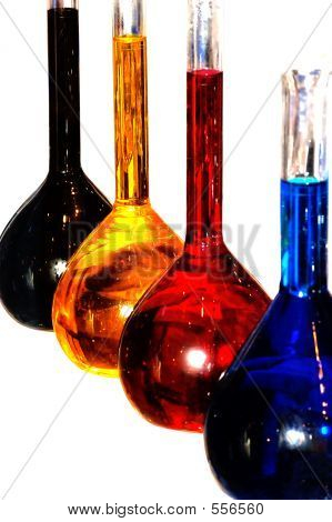 Colorful Chemistry Liquid Glass Retorts Isolated