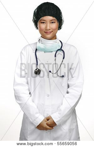 Frendly And Smiling Young Asian Female Doctor