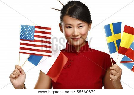 Beautiful Asian Woman Showing Multicolor International Flags