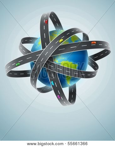 World planet circled by net of roads. Eps10 vector illustration