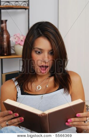 Woman Shocked Reading A Book