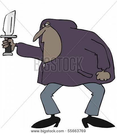 Robber in a hooded sweatshirt