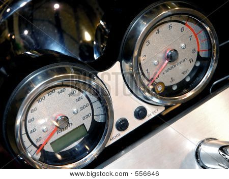 Motorcycle Details Speedometer Closeup
