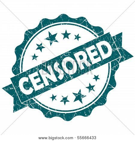 Censored Turquoise Vintage Round Grunge Seal Isolated On White Background