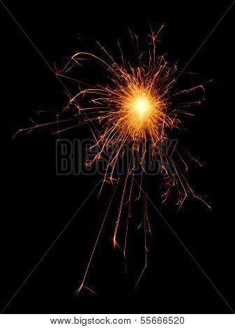 Burning Sparklers Isolated On Black Background.