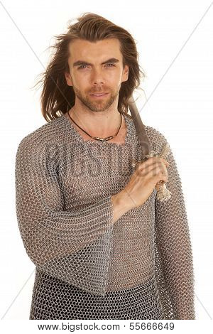 Man Chain Mail Sword Over Shoulder