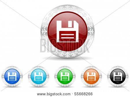 disk icon christmas set