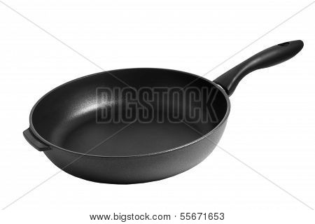 black pan frying isolated on white background