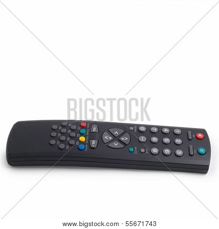 black tv remote a control isolated on white background