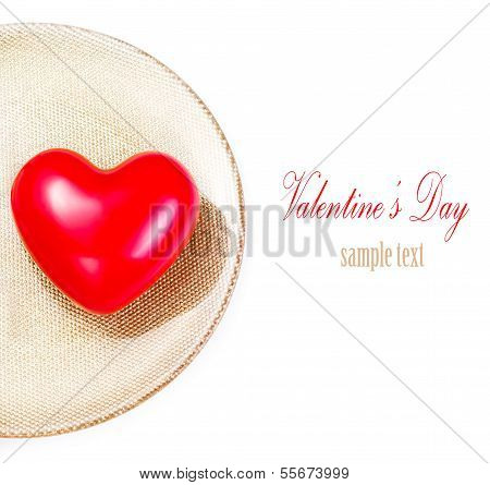 Red Heart On Festive  Golden  Plate  Isolated On White Background. Valentines Day Background. Valent