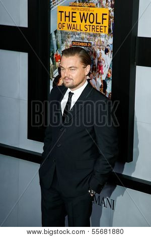 "NEW YORK-DEC 17: Actor Leonardo DiCaprio attends the ""Wolf of Wall Street"" premiere at the Ziegfeld Theatre on December 17, 2013 in New York City."