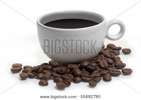 coffee cup and beans isolated on white