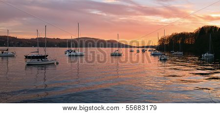 Winter sunset over Lake Windermere