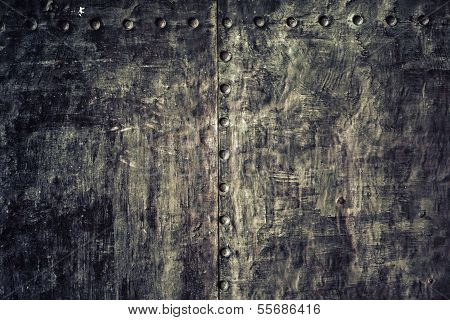 Closeup Grunge Old Black Metal Plate As Background Texture