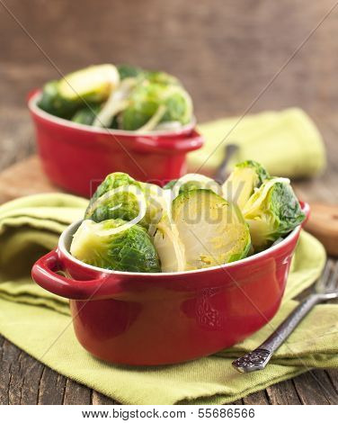 Fried Brussels Sprouts With Onions