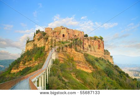Civita Di Bagnoregio Landmark, Bridge View On Sunset. Italy
