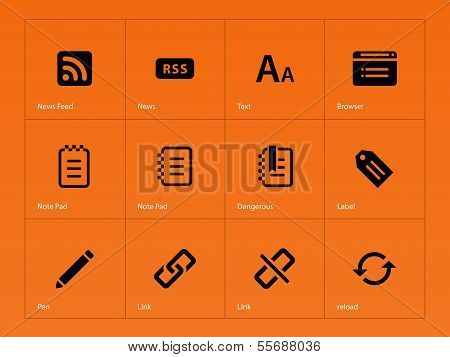 Blogger icons on orange background