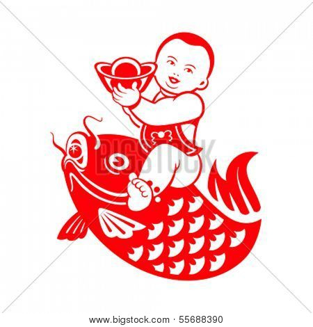 Chinese New Year postcard with chubby boy riding a carp