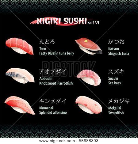 Nigiri sushi with tuna, sea bass, alfonsino, swordfish and parrotfish