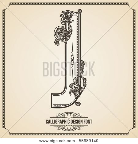 Calligraphic Design Font with Typographic Floral Elements for your Artworks. Nice for Page Decoration. Letter J