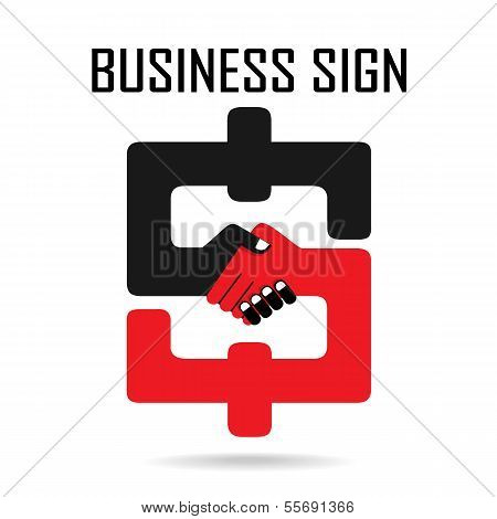 Handshake Abstract Sign Vector Design Template. Business Creative Concept.