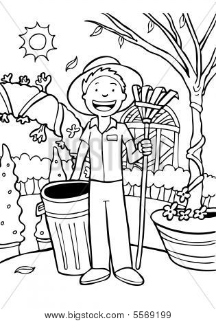 Gardener Cartoon Line Art: Landscaper with trashcan and rake.