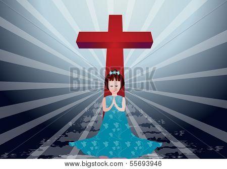 Girl praying peacefully