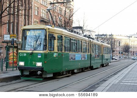 Green Hsl Tram No 10 In Helsinki, Finland