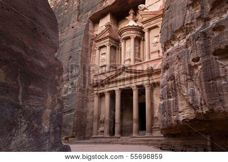 Ancient City Of Petra And Treasury Entrance With Many Layers On Left And Right Side, Jordan