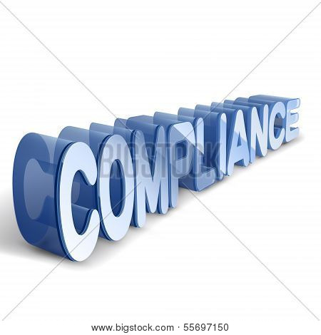 3D Blue Word Compliance