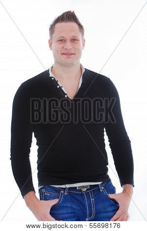 Attractive Young Man Wearing Long Sleeve T-shirt