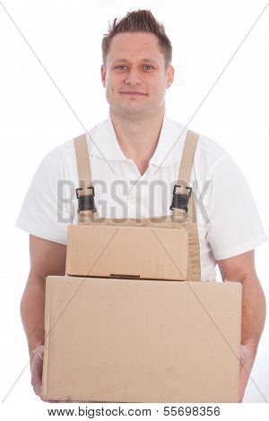 Smiling Workman Carrying Boxes