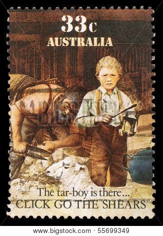 AUSTRALIA - CIRCA 1986: A stamp printed in Australia shows sheepshearing, Tar-boy is there, circa 1986