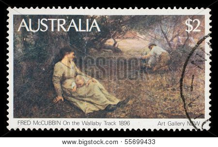 AUSTRALIA - CIRCA 1981: A Stamp printed in Australia shows the On the Wallaby Track (1896), by Fred McCubbin, from the Art Gallery NSW, circa 1981