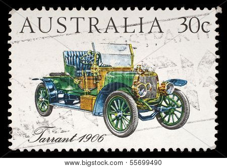 AUSTRALIA - CIRCA 1984: A stamp printed in Australia shows the Tarrant Car (1906), Australian-made vintage cars series, circa 1984
