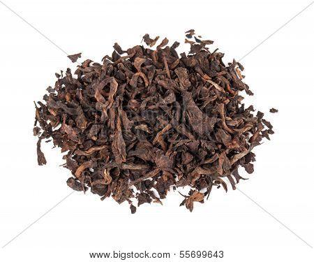 Chinese Dark Tea Pu-erh Isolated On White